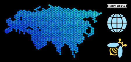 Hexagon Blue Europe and Asia map. Geographic map in blue color tinges on a black background. Vector mosaic of Europe and Asia map combined of hexagon spots.