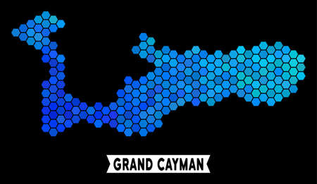 Blue Hexagon Grand Cayman Island map. Geographic map in blue color shades on a black background. Vector pattern of Grand Cayman Island map created of hexagon elements.