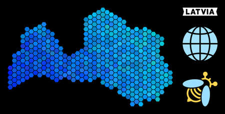 Hexagon Blue Latvia map. Geographic map in blue color shades on a black background. Vector concept of Latvia map organized of hexagon elements.