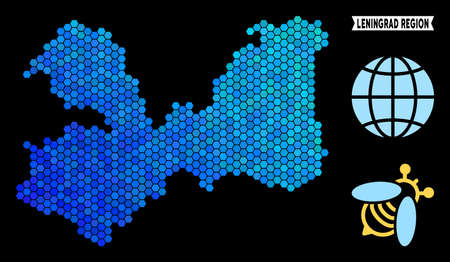 Hexagon Blue Leningrad Oblast map. Geographic map in blue color tones on a black background. Vector concept of Leningrad Oblast map done of hexagon elements.
