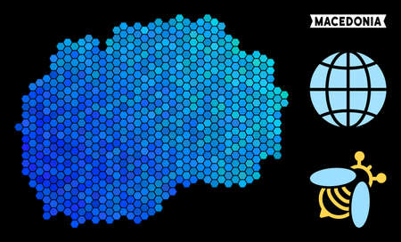 Hexagon Blue Macedonia map. Geographic map in blue color tones on a black background. Vector collage of Macedonia map constructed of hexagon spots.