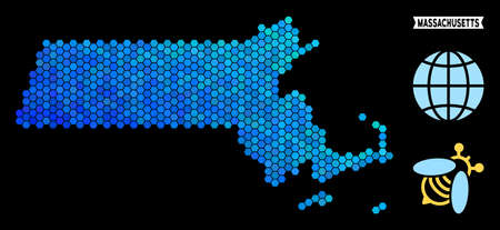 Blue Hexagon Massachusetts State map. Geographic map in blue color shades on a black background. Vector pattern of Massachusetts State map combined of hexagon pixels.