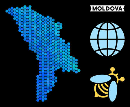 Hexagon Blue Moldova map. Geographic map in blue color hues on a black background. Vector pattern of Moldova map created of hexagon items.
