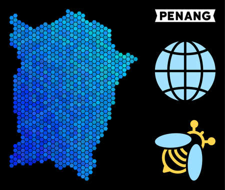Hexagon Blue Penang Island map. Geographic map in blue color shades on a black background. Vector composition of Penang Island map organized of honey comb items. Illustration