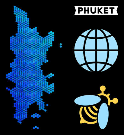 Blue Hexagon Phuket map. Geographic map in blue color hues on a black background. Vector concept of Phuket map combined of hexagon elements.