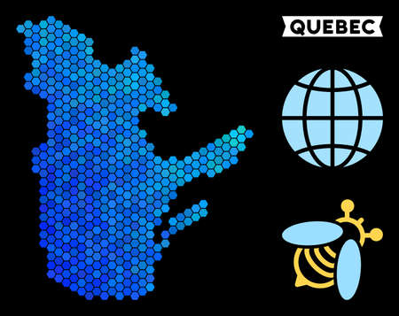 Blue Hexagon Quebec Province map. Geographic map in blue color tones on a black background. Vector pattern of Quebec Province map organized of hexagon pixels.
