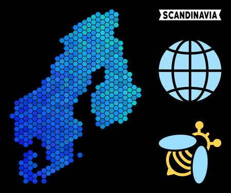 Blue Hexagon Scandinavia map. Geographic map in blue color tints on a black background. Vector composition of Scandinavia map designed of hexagon items.