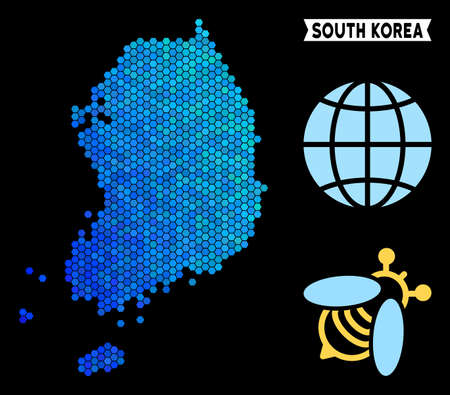 Blue Hexagon South Korea map. Geographic map in blue color tints on a black background. Vector collage of South Korea map constructed of hexagon spots.