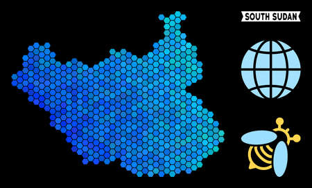 Blue Hexagon South Sudan map. Geographic map in blue color tints on a black background. Vector concept of South Sudan map made of hexagon dots.