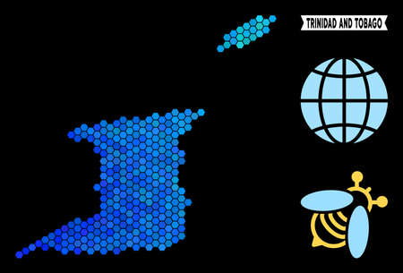 Blue Hexagon Trinidad and Tobago map. Geographic map in blue color tinges on a black background. Vector concept of Trinidad and Tobago map made of hexagon elements. Çizim