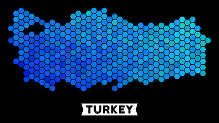 Hexagon Blue Turkey map. Geographic map in blue color tints on a black background. Vector concept of Turkey map designed of hexagon items. Иллюстрация