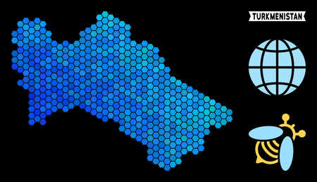 Hexagon Blue Turkmenistan map. Geographic map in blue color tints on a black background. Vector mosaic of Turkmenistan map constructed of hexagon pixels.