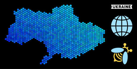 Hexagon Blue Ukraine map. Geographic map in blue color hues on a black background. Vector collage of Ukraine map combined of hexagon spots.