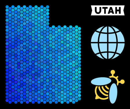 Hexagon Blue Utah State map. Geographic map in blue color hues on a black background. Vector mosaic of Utah State map designed of hexagon pixels.