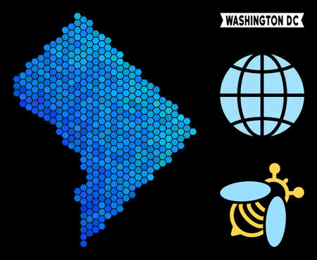 Blue Hexagon Washington DC map. Geographic map in blue color variations on a black background. Vector collage of Washington DC map designed of hexagon dots. Illustration