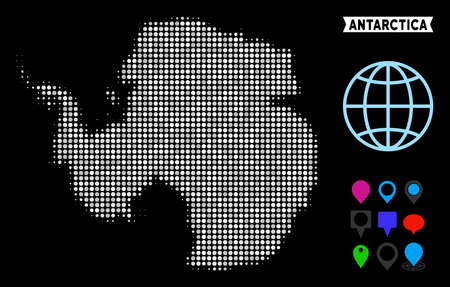 Bright pixel halftone Antarctica map. Geographic map in bright color tones on a black background. Vector concept of Antarctica map constructed of spheric pixels. Illustration