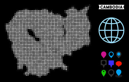 Bright dotted halftone Cambodia map. Geographic map in bright color tints on a black background. Vector collage of Cambodia map created of round elements.