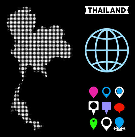 Bright dot halftone Thailand map. Geographic map in bright color variations on a black background. Vector pattern of Thailand map made of spheric dots.
