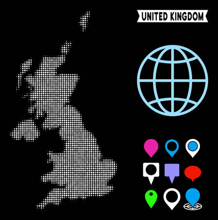 Bright dotted halftone United Kingdom map. Geographic map in bright color tones on a black background. Vector collage of United Kingdom map made of sphere elements.