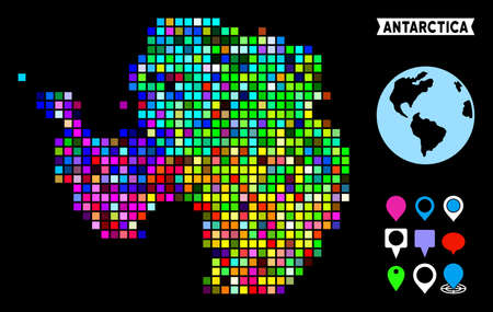 Bright colored dot halftone Antarctica map. Geographic map in bright random colors on a black background. Vector pattern of Antarctica map combined of rectangle items.
