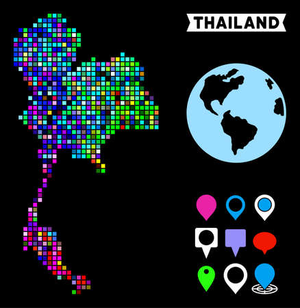 Bright colored pixelated halftone Thailand map. Geographic map in bright random colors on a black background. Vector pattern of Thailand map created of rectangle elements.