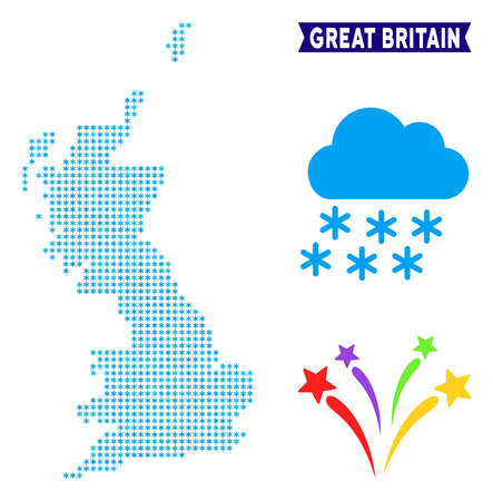 Winter Great Britain map. Vector geographic scheme in blue winter colors. Vector collage of Great Britain map constructed of snow flakes.  イラスト・ベクター素材