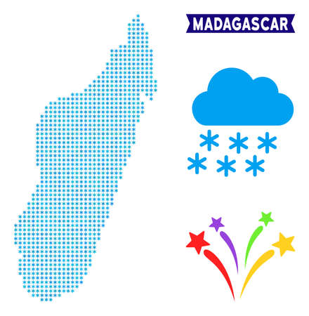 Freeze Madagascar Island map. Vector geographic scheme in blue frosty colors. Vector mosaic of Madagascar Island map constructed of snow flakes.