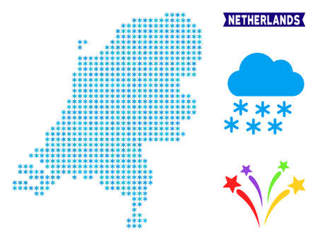 Winter Netherlands map. Vector geographic plan in blue winter colors. Vector composition of Netherlands map composed of snowflakes.
