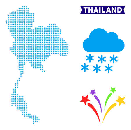 Winter Thailand map. Vector geographic scheme in blue winter colors. Vector concept of Thailand map constructed of snow dots.