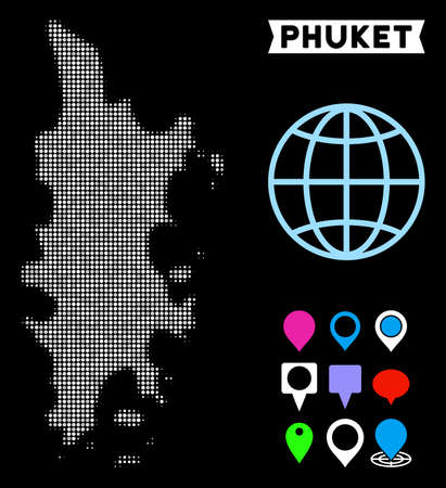 Bright dotted halftone Phuket map. Geographic map in bright color shades on a black background. Vector concept of Phuket map designed of spheric pixels.