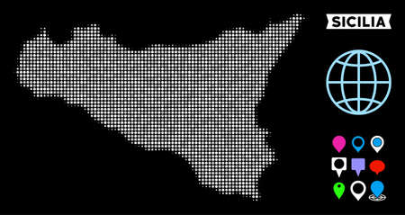 Bright dot halftone Sicilia map. Geographic map in bright color variations on a black background. Vector concept of Sicilia map organized of round pixels.