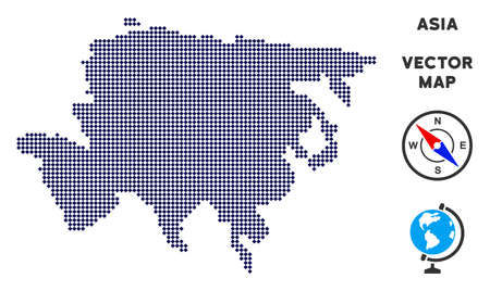 Pixelated Asia map. Abstract territory scheme. Pixels have rhombic shape and dark blue color. Vector pattern of Asia map designed of rhombic item mosaic.