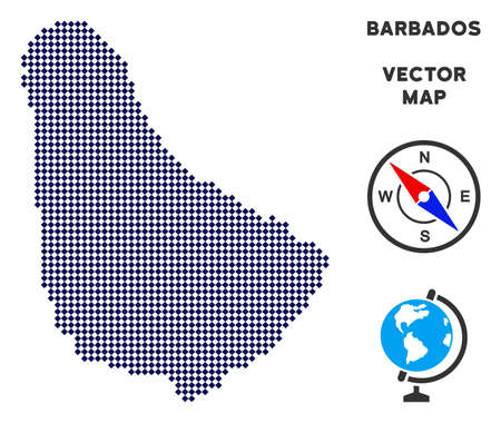 Dot Barbados map. Abstract territorial map. Pixels have rhombic shape and dark blue color. Vector concept of Barbados map combined of rhombic item mosaic.