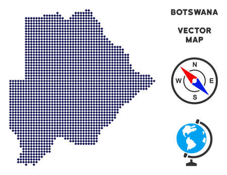 Dot Botswana map. Abstract territory plan. Points have rhombus form and dark blue color. Vector pattern of Botswana map constructed of rhombic item pattern. Illustration