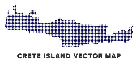 Pixelated Crete Island map. Abstract geographical scheme. Pixels have rhombus shape and dark blue color. Vector composition of Crete Island map designed of rhombus dot mosaic.