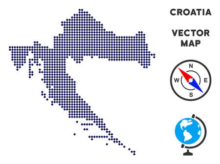 Pixelated Croatia map. Abstract territory plan. Pixels have rhombic shape and dark blue color. Vector mosaic of Croatia map constructed of rhombic pixel array. Illustration