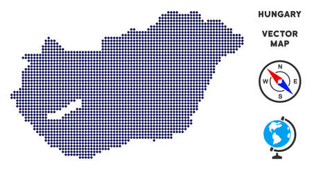 Dot Hungary map. Abstract territory scheme. Points have rhombus form and dark blue color. Vector pattern of Hungary map combined of rhombic dot mosaic.