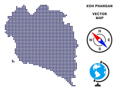 Dot Koh Phangan Thai Island map. Abstract geographical scheme. Points have rhombus shape and dark blue color. Vector composition of Koh Phangan Thai Island map constructed of rhombus pixel grid. Illustration