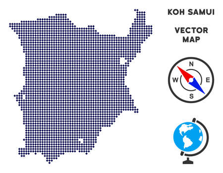Dot Koh Samui map. Abstract geographical scheme. Pixels have rhombus shape and dark blue color. Vector pattern of Koh Samui map constructed of rhombus item pattern.