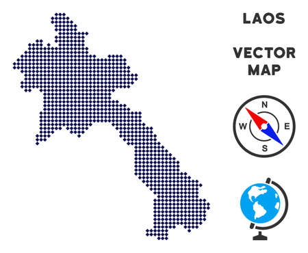 Dot Laos map. Abstract geographical scheme. Dots have rhombic shape and dark blue color. Vector pattern of Laos map constructed of rhombic point pattern.