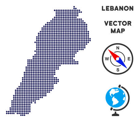 Dotted Lebanon map. Abstract territorial map. Points have rhombic form and dark blue color. Vector pattern of Lebanon map designed of rhombus item pattern. Illustration