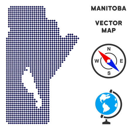 Dot Manitoba Province map. Abstract geographic scheme. Pixels have rhombic form and dark blue color. Vector composition of Manitoba Province map organized of rhombic dot pattern.
