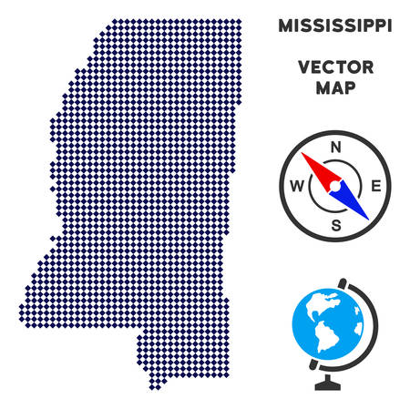 Dotted Mississippi State map. Abstract geographic plan. Dots have rhombus shape and dark blue color. Vector collage of Mississippi State map combined of rhombus small item array.