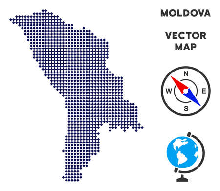 Pixelated Moldova map. Abstract geographic map. Dots have rhombus form and dark blue color. Vector mosaic of Moldova map created of rhombus pixel array. Illustration