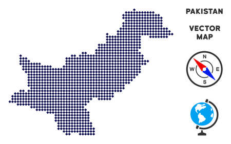 Pixelated Pakistan map. Abstract geographical scheme. Pixels have rhombic shape and dark blue color. Vector collage of Pakistan map combined of rhombic small item mosaic.