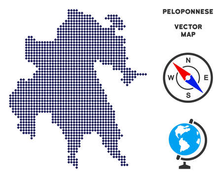 Dotted Peloponnese Peninsula map. Abstract geographical plan. Points have rhombus form and dark blue color. Vector concept of Peloponnese Peninsula map constructed of rhombus dot grid. Illustration