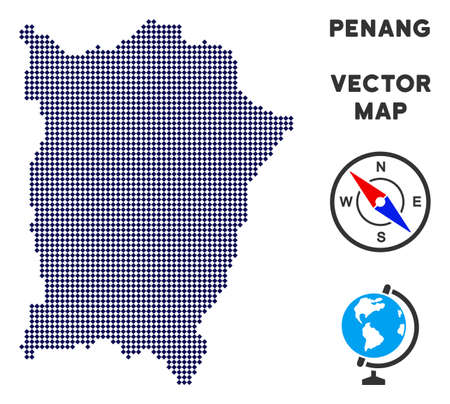 Dot Penang Island map. Abstract territory scheme. Pixels have rhombic shape and dark blue color. Vector pattern of Penang Island map created of rhombic item grid.