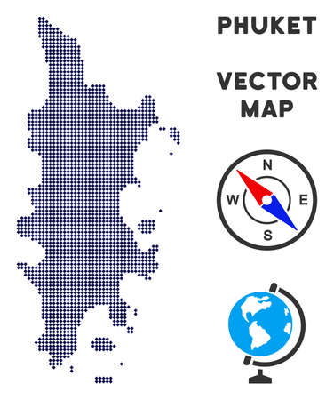 Dotted Phuket map. Abstract geographical map. Points have rhombus form and dark blue color. Vector pattern of Phuket map created from rhombus pixel pattern.