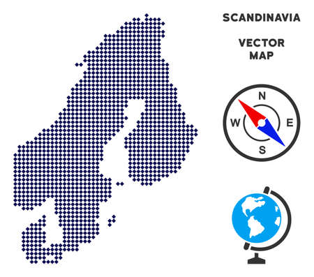 Dotted Scandinavia map. Abstract geographical plan. Points have rhombic form and dark blue color. Vector mosaic of Scandinavia map constructed of rhombic element grid. Ilustracje wektorowe