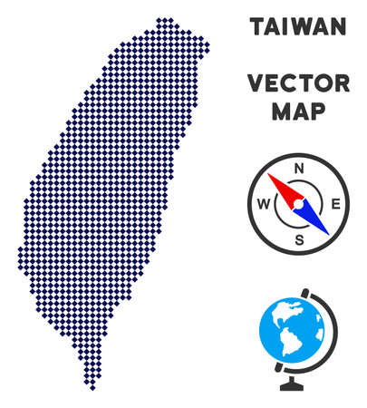 Pixelated Taiwan Island map. Abstract territory scheme. Points have rhombic form and dark blue color. Vector composition of Taiwan Island map combined of rhombic item array. Illusztráció